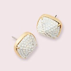 NWT! KATE SPADE PRESH Clay Pave Small Square Studs